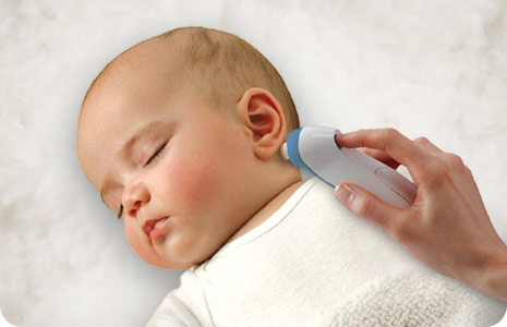 Detect your child's temperature with a gentle touch behind the ear.