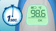 Vicks Behind Ear Thermometer takes only 1-second for an accurate temperature reading.