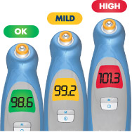 Fever InSight offers an color-coded display to help you understand your temperature reading.